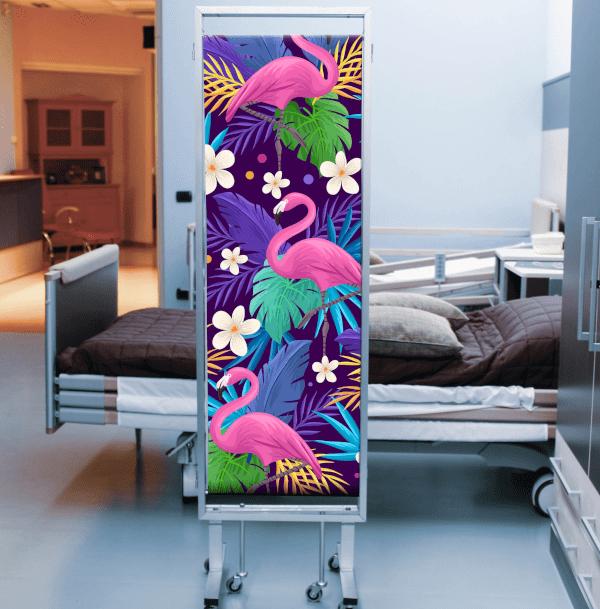 Paravento personalizzato con stampa di fenicotteri rosa